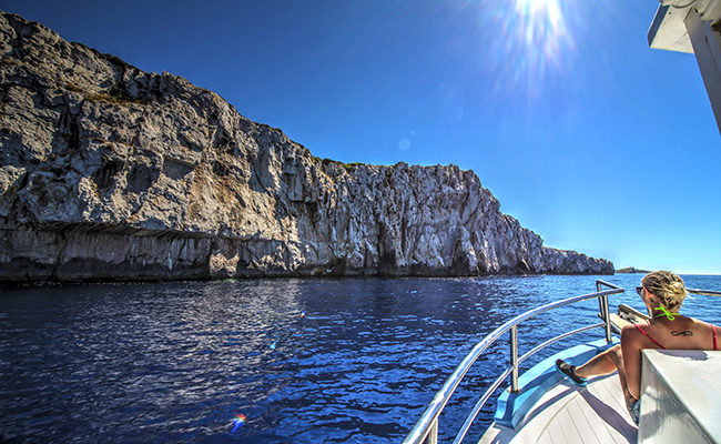 Sailing to Mamula and Blue cave