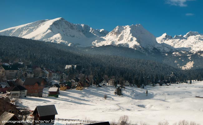 Winter at Durmitor. Zabljak is town under the Durmitor mountain